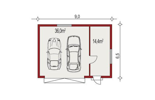 APG-7 wersja A - Rzut garażu