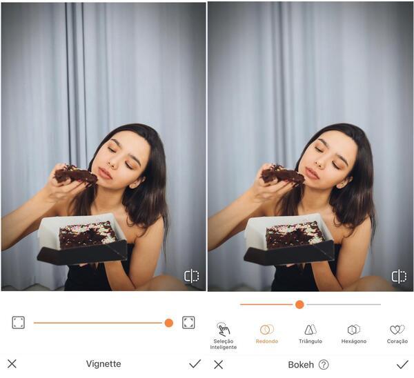 Mulher comendo um bolo de chocolate sendo editada pelo AirBrush com a ferramenta Vignette e Bokeh.