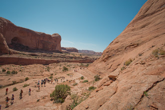 Photo: The group hiking in along the rock.