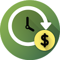 Tracking of salary and working hours icon