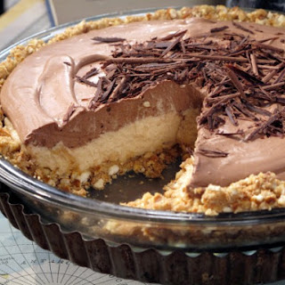 No-Bake Cream Cheese Peanut Butter Pie with Chocolate Whipped Cream.