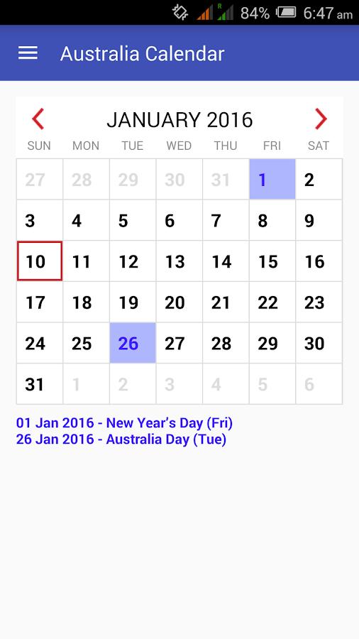 Google Calendar Year View : Australia calendar android apps on google play
