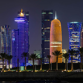 Doha City by Fitria Ramli - Buildings & Architecture Office Buildings & Hotels ( cityscapes, lights, doha, buildings, qatar, night, town, landscapes, nightscapes, city, hotels, garyfonglandscapes, holiday photo contest, photocontest, holiday lights,  )