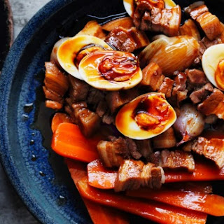 Slow-Cooked Red-Braised Pork Belly with Carrots, Eggs and Shallots Recipe