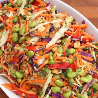 Asian Slaw with Ginger-Peanut Dressing.