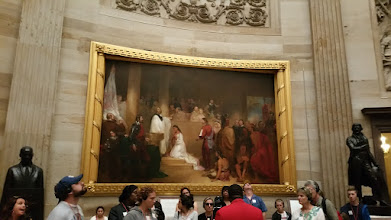 "Photo: Paintings in the rotunda. This one was commissioned by Congress in 1837 and is the ""Baptism of Pocohantas."" - http://en.wikipedia.org/wiki/United_States_Capitol_rotunda"