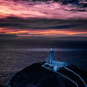 Sunset over South Stack by Vincent Yates - Landscapes Sunsets & Sunrises ( red, orange, lighthouse, sunset, purple, clouds, sea,  )