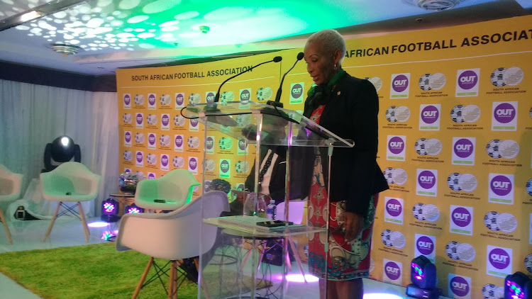 SA Football Association vice-president Ria Ledwaba speaks to the media during the sponsorship announcement of insurance company OUTsurance as Safa House in Johannesburg on September 11 2018.