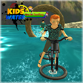 water surfing kids bicycle racing