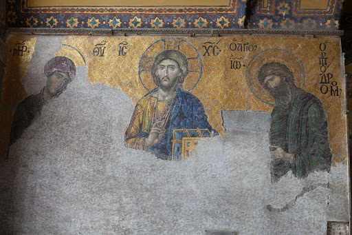 Hagia-Sophia-Jesus-relief - A relief of Jesus Christ and two of the apostles inside Hagia Sophia in Istanbul.