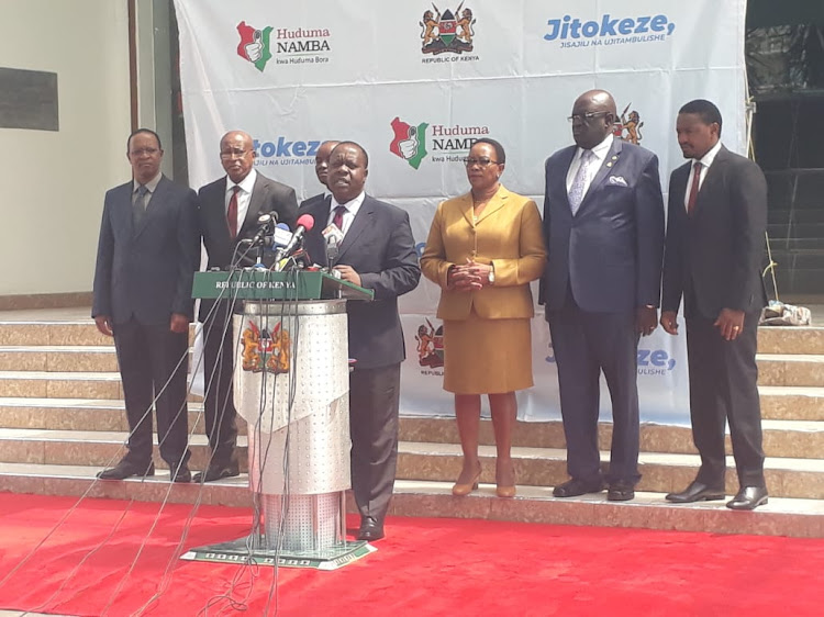 Interior CS Fred Matiang'i and other government officials on May 13, 2019