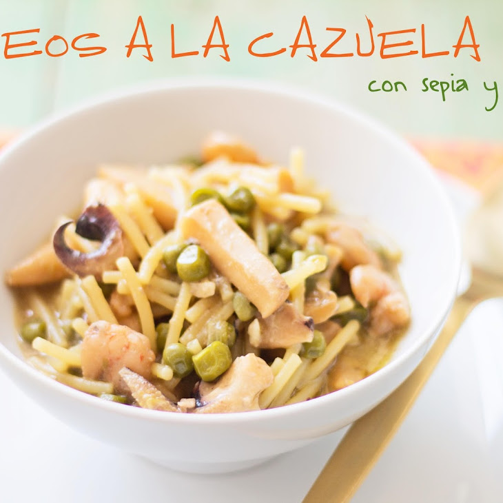 Noodle Casserole with Cuttlefish and Peas