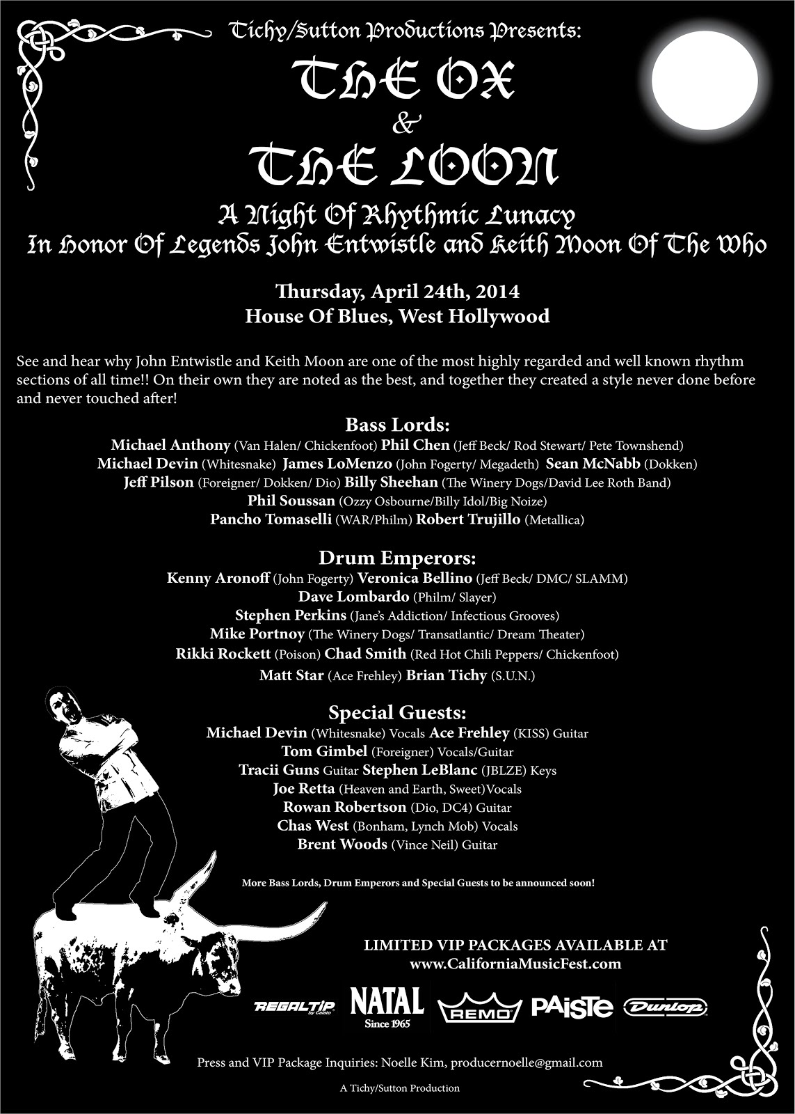 HUGE ALL-STAR LINEUP FOR THE OX AND THE LOON – A TRIBUTE TO ENTWISTLE AND MOON – HOUSE OF BLUES SUNSET 4/24/2014