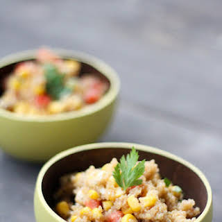 Quinoa Salad with Tomato, Corn, and Mozzarella.