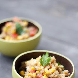 Quinoa Salad with Tomato, Corn, and Mozzarella.
