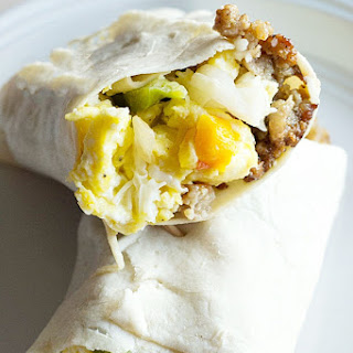 Low Carb Breakfast Burrito with Sausage and Peppers.