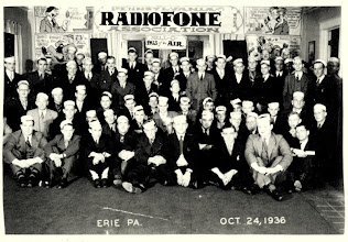 """Photo: 1936 Erie area Hamfest or """"Get-together"""" sponsored by W8EA Otto Eppers.  Each ham (the Boys) is wearing his call sign on his head.  Notice all the Epper's art work in the background. A good time for all I am sure.... For more on Otto Eppers  see """"Gone but not Forgotten and Cards that make us Smile."""