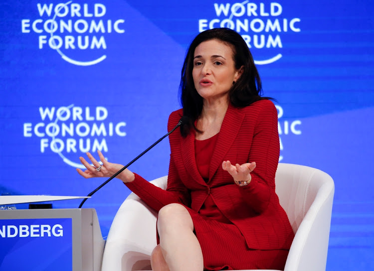 Sheryl Sandberg addresses a World Economic Forum. Picture: REUTERS