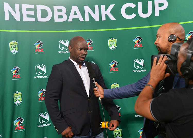 Kaizer Chiefs head coach Steve Komphela during his post-match TV interview following his club's 2-1 Nedbank Cup victory over National First Division side Stellenbosch FC on Saturday March 10 2018 to advance to the quarter-finals at Moses Mabhida Stadium, Durban on 10 March 2018.