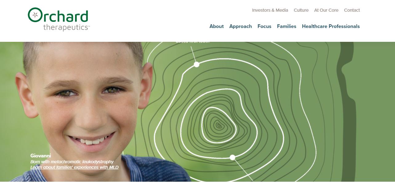 Screenshot Orchard Therapeutics' homepage