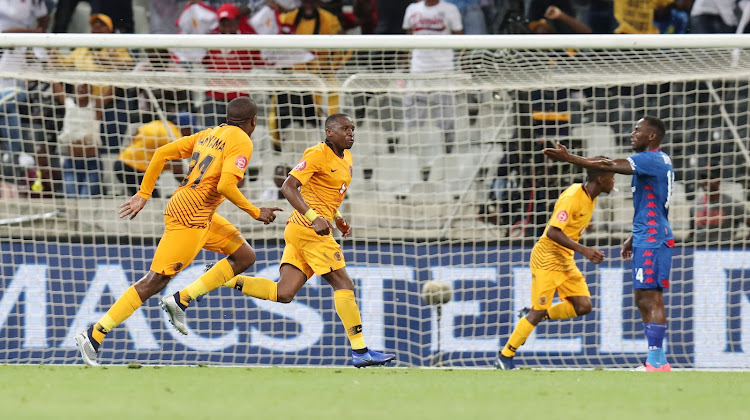 Kaizer Chiefs midfielder George Maluleka (C) celebrates after scoring a goal in a 1-0 Absa Premiership win over SuperSport United at Mbombela Stadium in Nelspruit, Mpumalanga, on December 12 2018.