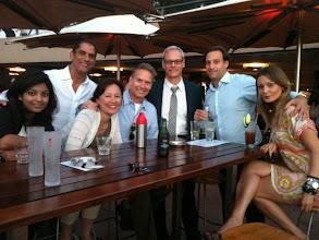 Photo: Tbirds in Sydney, Australia met at the Opera Bar. From left to right: Pragya Uprety '12, Roger Shahani '94, Mari Suzuki '91, Keith Meyer '92, Douglas Marcotte '93, Ryan McCumber '00 and Ryan's friend, Agnes.