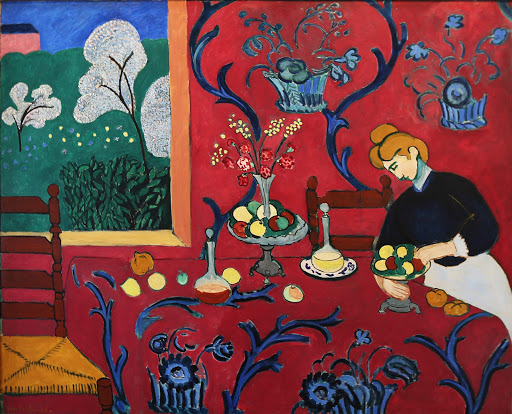 "Henri Matisse, ""The Red Room (Harmony in Red),"" 1908, oil on canvas, at the Hermitage at St. Petersburg, Russia."