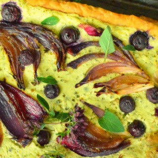 Red Onion, Goat Cheese and Pesto Tart