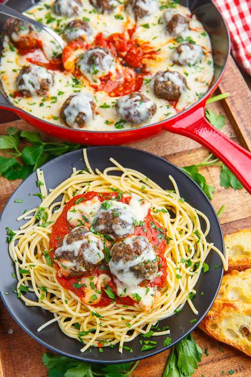 """Meatball Parmesan""""Meatballs in a tasty marinara sauce smothered in plenty of melted..."""