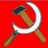 Hammer und Sichel auf rotem Grund.