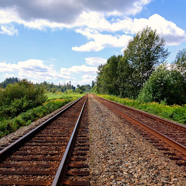 Railroad Dreamer by Ernie Kasper - Instagram & Mobile iPhone ( clouds, instagram, peaceful, sky, nature, metal, railroad, outdoors, trees, landscape photography, scenery, relaxing, landscape )