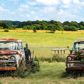 double the pleasure by Dougetta Nuneviller - Transportation Automobiles ( clunker, old, truck, vintage, junker, automobile, transportation, forgotten, grime, field, trucks, rust, antique, abandoned )