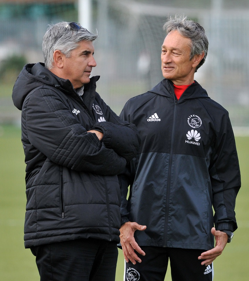 Ari Efstathiou, (Ajax Cape Town CEO) and Muhsin Ertugral, Coach of Ajax Cape Town during the Absa Premiership 2017/18 Ajax Cape Town training session and press conference at Ikamva, Cape Town on 9 May 2018.