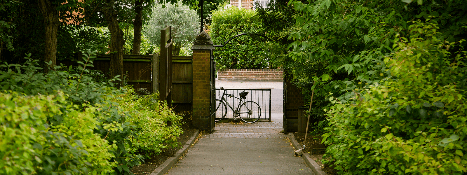 bicycle at the entrance of a lush garden and iron gate