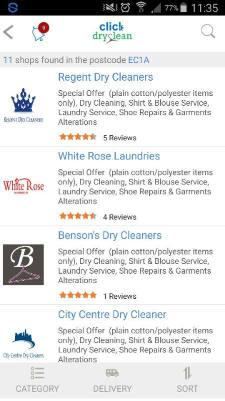 Click Dryclean:UK Dryclean App- screenshot