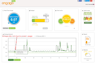 Photo: Efergy Engage portal showing a steady power usage on 4 Feb 2016 at 02:18