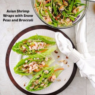 Asian Shrimp Wraps with Snow Peas and Broccoli
