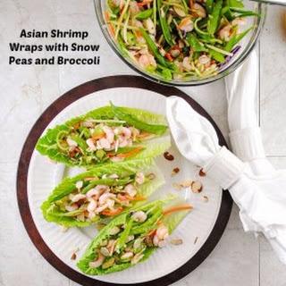 Asian Shrimp Wraps with Snow Peas and Broccoli.