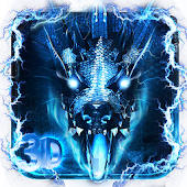3D blue fire ice dragon Thunder theme