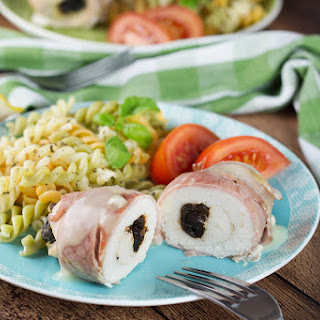 Prune Stuffed Bacon Wrapped Chicken Breast.