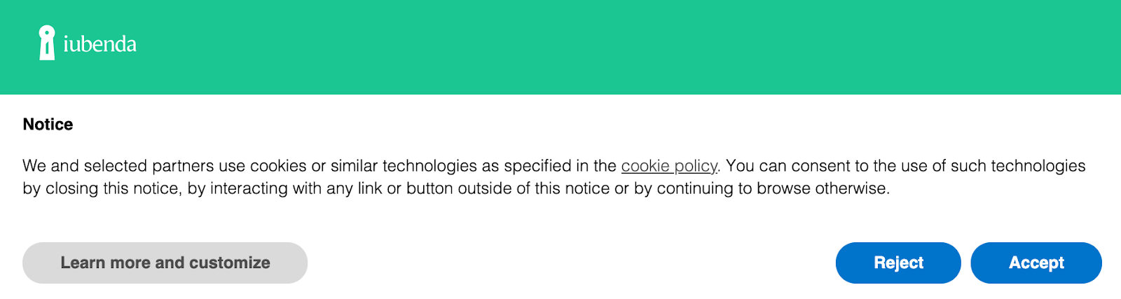 notice text about cookie policy on iubenda's website