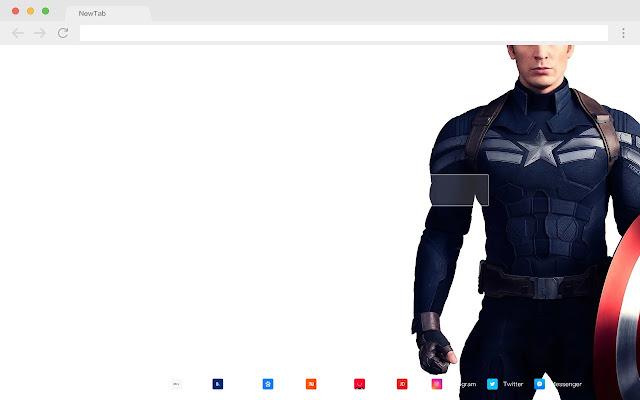 Captain America New Tab HD Pop Movies Theme