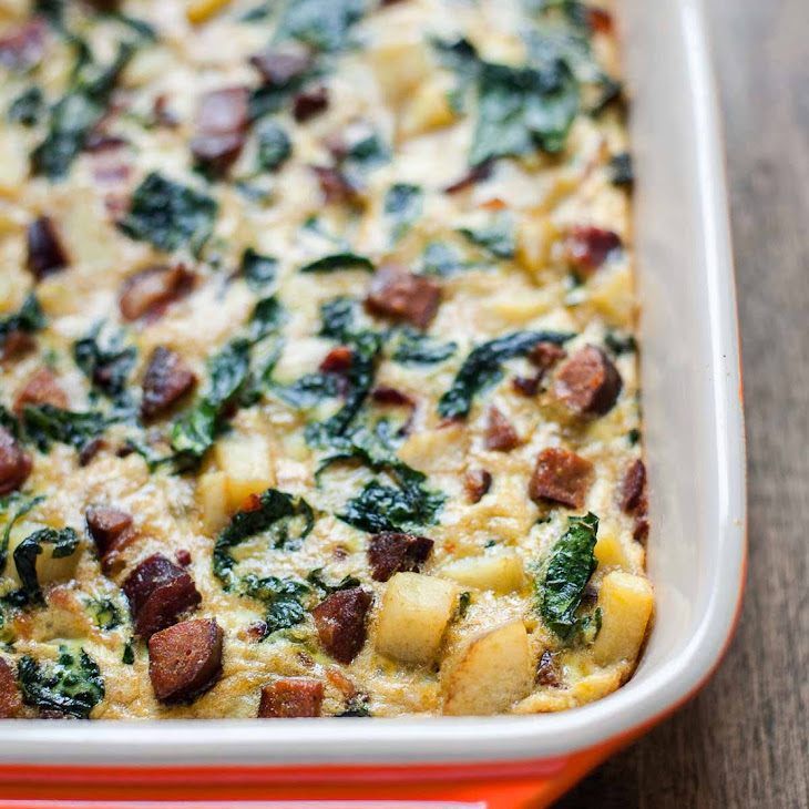 Breakfast Casserole with Bacon, Sausage, Sweet Potato, and Kale Recipe ...