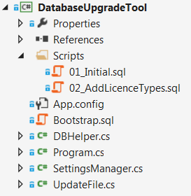 Database versioning tools: The structure of the upgrade tool