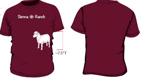 White logo and goat image printed on Berry/maroon Red t-shirt.