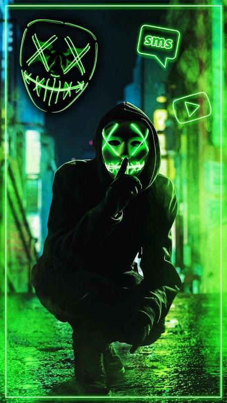 Download Neon Mask Cool Man Theme Live Wallpaper Apk