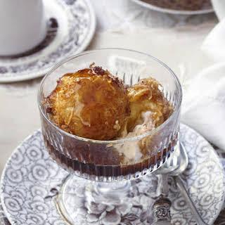 Deep Fried Ice Cream with Coffee Syrup.