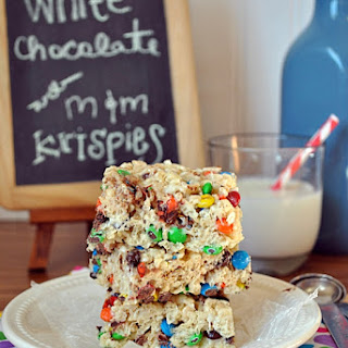 White Chocolate Rice Krispies Treats with M&Ms