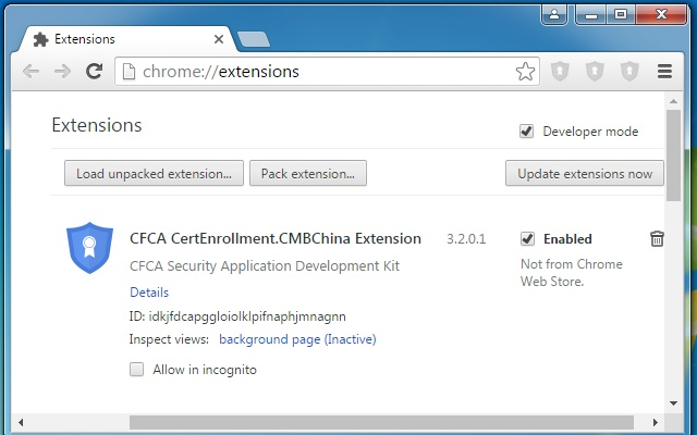 CFCA CertEnrollment.CMBChina Extension