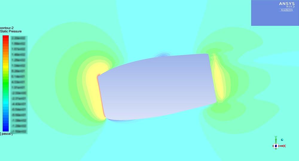 ANSYS - Моделирование эффекта парусника, создаваемого боковым ветром, действующим на «солнцемобиль»